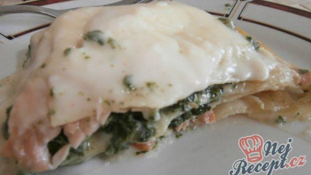 Lasagne s lososem a špenátem
